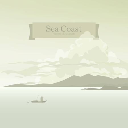 bay: Sea Bay, Sailboat with the Boat  in the Gulf against the Background of  Coast and Mountains and Clouds, Vector Illustration