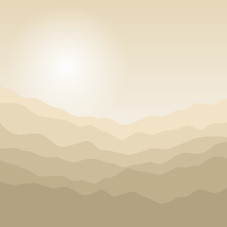 early in the evening: Mountain Landscape , the Silhouette of the Mountains  at Sunrise, View of the Mountains  in the Morning,Mountain Ranges in Shades of Yellow, Waves,  Vector Illustration
