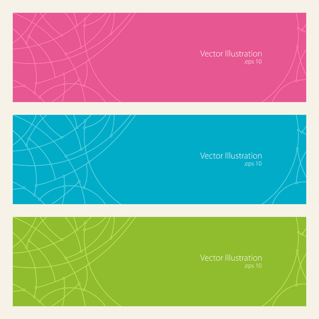 green banner: Set of Horizontal Banners with Abstract Geometrical Pattern of Curves, Unfinished Lines, Circles, Different Colored Banners, Pink Blue and Green Banners, Website Header, Vector Illustration