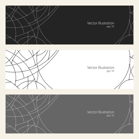 unfinished: Set of Horizontal Banners with Abstract Geometrical Pattern of Curves, Unfinished Lines, Circles,  Black White  and Grey Banners, Website Header, Vector Illustration Vectores
