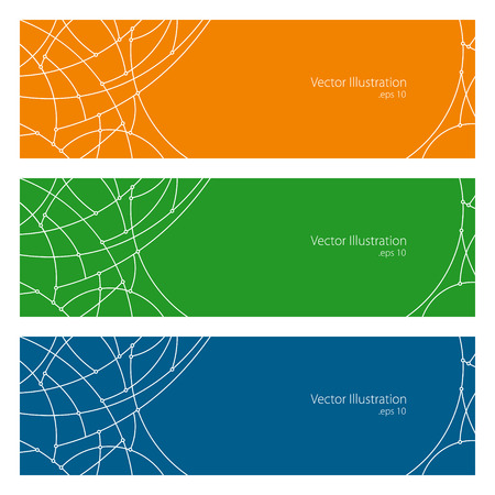 unfinished: Set of Horizontal Banners with Abstract Geometrical Pattern of Curves, Unfinished Lines, Circles, Different Colored Banners, Orange Blue and Green Banners, Website Header, Vector Illustration Vectores