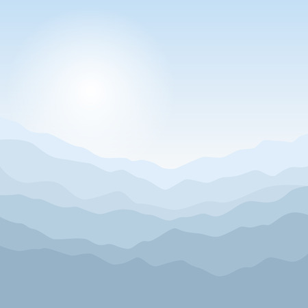 early in the evening: Mountain Landscape , the Silhouette of the Mountains  at Sunrise, View of the Mountains  in the Morning, Mountain Ranges in Shades of Blue, Waves,  Vector Illustration