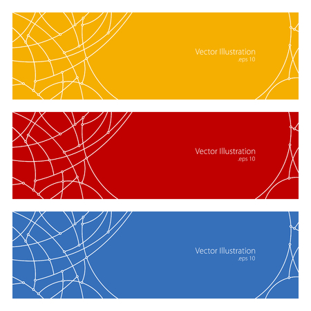 unfinished: Set of Horizontal Banners with Abstract Geometrical Pattern of Curves, Unfinished Lines, Circles, Different Colored Banners, Orange Red and Blue Banners, Website Header, Vector Illustration