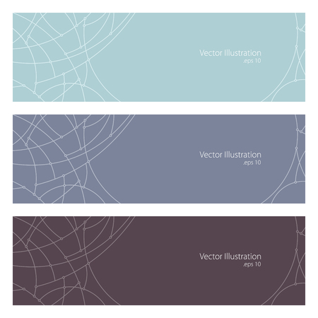 Set of Horizontal Banners with Abstract Geometrical Pattern of Curves, Unfinished Lines, Circles, Different Colored Banners, Banners in Pastel Colors, Website Header, Vector Illustration