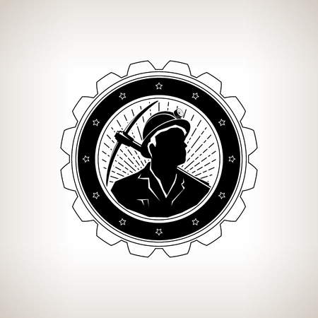 вал: Miner in the Helmet with a Flashlight is Holding Pickaxe  on the Background  Sunburst, Vintage Emblem of the Mining Industry on a Light Background, Label or Badge Mine Shaft, Mining, Vector