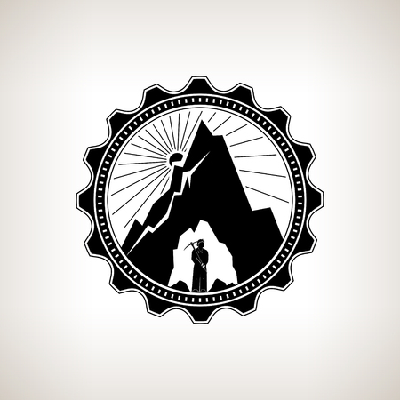 bowels: Miner in the Helmet  is Holding Pickaxe in the Bowels of the Mountain  on a Background of the Sunburst, Label or Badge Mine Shaft, Mining, Vintage Emblem of the Mining Industry,  Vector