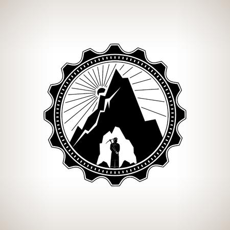 Miner nel casco è holding Piccone nelle viscere della montagna su uno sfondo di Sunburst, etichetta o Badge Mine Shaft, Industria mineraria, Vintage Emblema del settore minerario, vettore Archivio Fotografico - 46049419