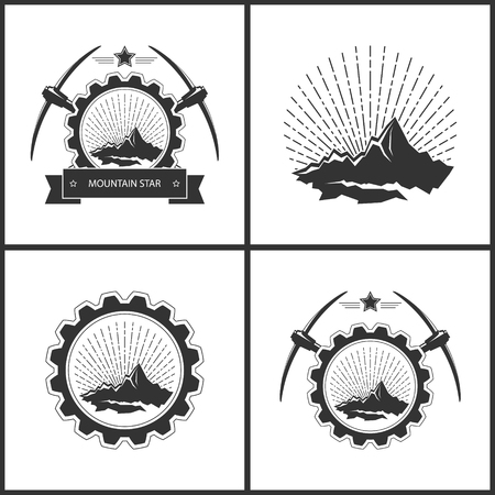 Set of Vintage Emblem of the Mining Industry, Label or Badge Mine Shaft, Mining,Mountains in Retro Sunlight,  Mountain on a Background of the Sunburst in Gear with Star and Pickaxes, Vector