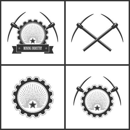 mineria: Conjunto de la vendimia Emblema de la Industria Minera, etiqueta o insignia Pozo de mina, Miner�a, estrella en luz del sol retro, dos cruzaron picos, la estrella en un fondo del resplandor solar en el engranaje con Picos