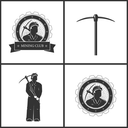pickaxe: Miner in the Helmet  is Holding Pickaxe,Pickaxe, Set of  Vintage Emblem of the Mining Industry, Label or Badge Mining Industry, Miner with Pick Axe on a Background of the Sunburst in Gear Illustration