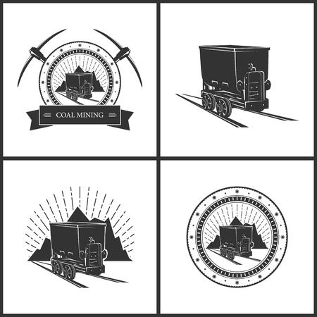 carbone: Miniera di carbone carrello su uno sfondo di montagne e Sunburst, Miniera di carbone di acquisto isolato su bianco, Set di Vintage Emblema del settore minerario, etichetta o Badge Pozzo di estrazione, Industria Coal Mining