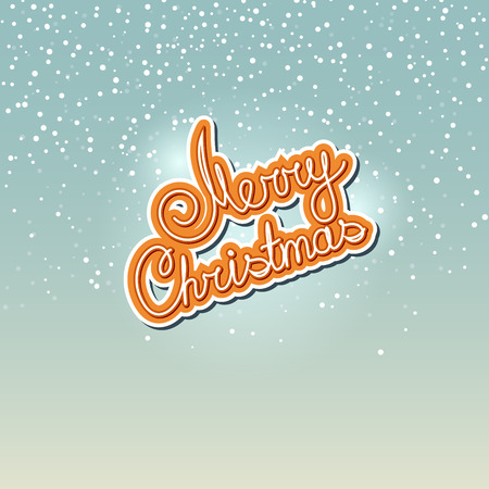 snowfall: Merry Christmas  in Colors of Cookies,  Text Merry Christmas on Snowfall Background in Turquoise Shades, Winter Background with the Words Merry Christmas, Vector Illustration Illustration