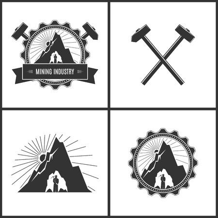 ギア、交差ハンマーとハンマー、ラベルまたは採鉱産業のセット エンブレム、バッジ坑道でサンバーストの背景の山の奥深くにピックアップ斧とヘ  イラスト・ベクター素材