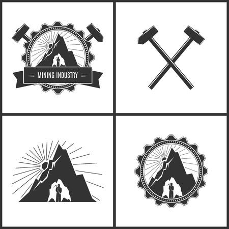 bowels: Miner in the Helmet with Pick Axe in the Bowels of the Mountain on a Background of the Sunburst in Gear , Crossed Hammer and Sledgehammer,Label or Badge Mine Shaft, Set  Emblem of the Mining Industry