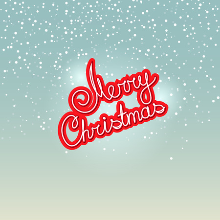 christmas christmas christmas: Merry Christmas,  Text Merry Christmas on Snowfall Background in Turquoise Shades, Winter Background with the Words Merry Christmas, Vector Illustration