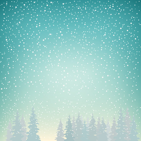 風景: 降雪、スプルース、森の中の雪、冬の降雪でモミの木に雪が降る冬の背景には、ターコイズ ブルーの色合い、ベクトル図でクリスマス冬の風景