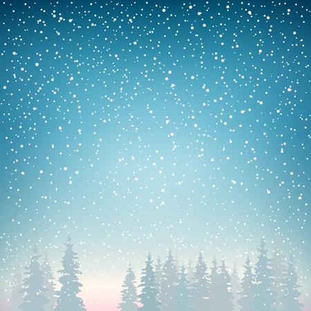 Las nevadas, las caídas de nieve en el Spruce, Nevadas en el bosque, Abetos en invierno en las nevadas, Fondo Invierno, Paisaje de Navidad de invierno en Blue Shades, ilustración vectorial Foto de archivo - 46727630