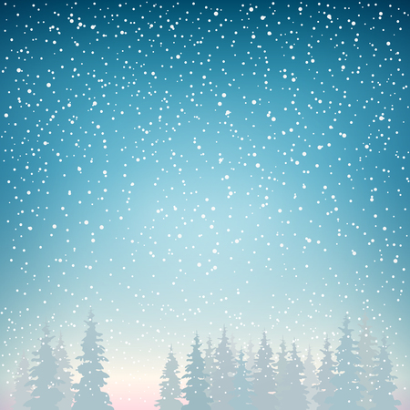 newyear night: Snowfall, Snow Falls on the Spruce, Snowfall in the Forest, Fir Trees in Winter in Snowfall, Winter Background, Christmas Winter Landscape in Blue Shades, Vector Illustration