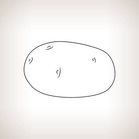 contours: Potato ,Image Potatoes in the Contours on a Light Background, Black and White Vector Illustration