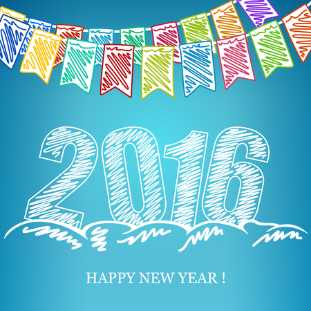 2016 Merry Christmas and Happy New Year, New Year Eve Background, Holiday Multicolored Bunting Flags and the Year 2016 in the Drifts of Snow  and Wishes a Happy New Year, Drawing Crayons or Markers