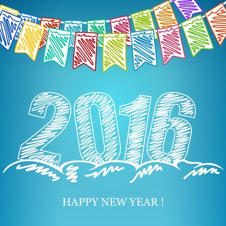 nowy: 2016 Wesołych Świąt i Szczęśliwego Nowego Roku, Nowy Rok w tle, wakacje wielobarwny Trznadel Flagi i 2016 roku w zaspy śniegu i życzenia szczęśliwego Nowego Roku, kredki do rysowania lub markerów Ilustracja