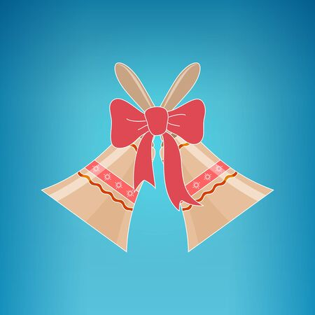 jingle bells: Holiday Jingle Bells with Ornament Decorated with a Pink Bow  on a Blue Background, Christmas Decoration, Vector Illustration