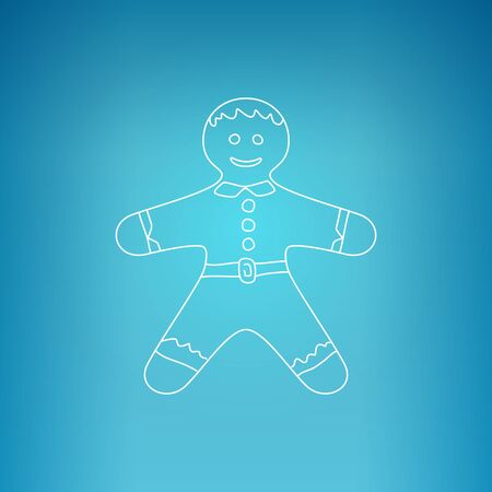 gingerbreadman: Christmas Gingerbread Man , Gingerbread Man on a Blue Background , Christmas Decoration, Drawing in the Contours, Vector Illustration Illustration