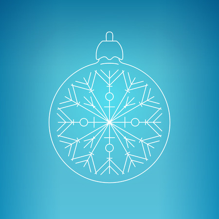 merrychristmas: Christmas Ball with Snowflake , Christmas Ball  on a Blue Background , Christmas Tree Decoration, Drawing in the Contours, Vector Illustration Illustration