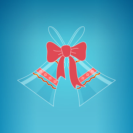 jingle bells: Holiday Crystal Glass Jingle Bells with Ornament Decorated with a Pink Bow  on a Blue Background, Christmas Decoration, Vector Illustration