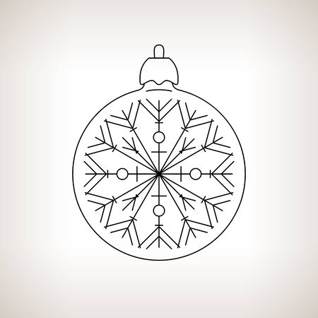 merrychristmas: Christmas Ball with Snowflake , Christmas Ball  on a Light Background , Christmas Tree Decoration,Drawing in the Contours, Black and White Vector Illustration