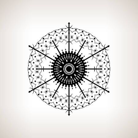 openwork: Snowflake  on a Light Background, Christmas Decoration, Openwork Pattern in the Form of Snowflakes, Drawing in the Contours, Black and White  Vector Illustration Illustration