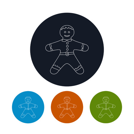gingerbreadman: Icon of a  Christmas Gingerbread Man , Four Types of Colorful Round  Linear  Icons Gingerbread Man, Icon of Christmas Decoration, Vector Illustration Illustration