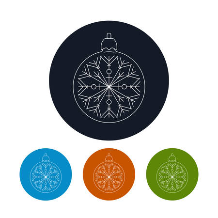 merrychristmas: Icon of a  Christmas Ball with Snowflake ,Four Types of Colorful Round Linear  Icons Ball with Snowflake , Icon of a  Christmas Tree Decoration, Vector Illustration