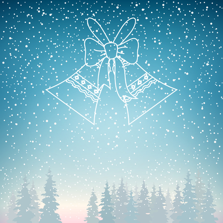 snowfall: Snowfall and Holiday Crystal Glass Jingle Bells , Snow Falls on the Spruce, Snowfall in the Forest, Fir Trees in Winter in Snowfall, Winter  Background, Christmas Winter Landscape in Blue Shades