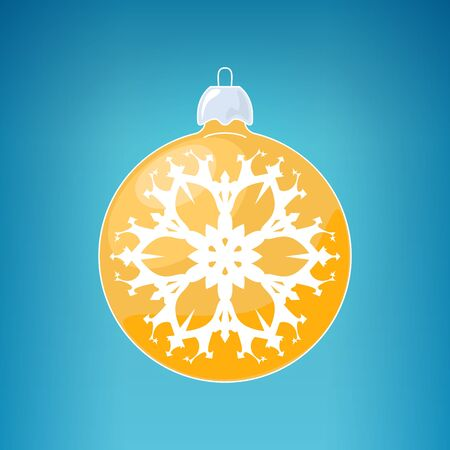 merrychristmas: Christmas Ball with Snowflake , Yellow Ball  on a Blue Background , Christmas Tree Decoration, Merry Christmas and Happy New Year, Vector Illustration Illustration
