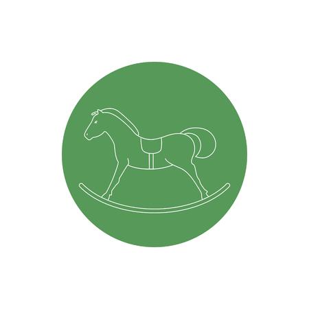 rocking: Linear  Icon  Rocking Horse, Colorful Round Icon Rocking Horse , Icon Christmas Decorations,  Vector Illustration