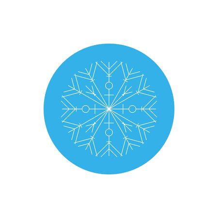 snowflake icon: Linear Icon Snowflake, Merry Christmas and Happy New Year, Icon Christmas Decoration, Colorful Round Icon Snowflake, Vector Illustration