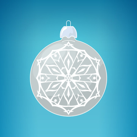 merrychristmas: Silver Ball with Snowflake Illustration