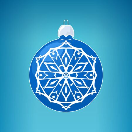 merrychristmas: Blue Ball with Snowflake Illustration
