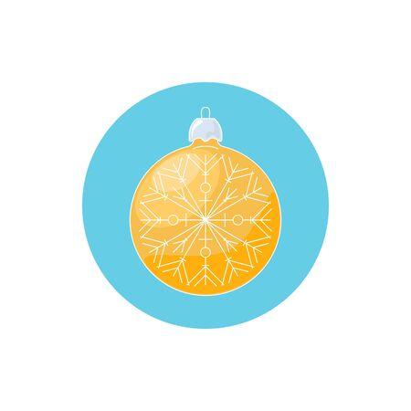 merrychristmas: Colorful Icon Christmas Yellow Ball with Snowflake