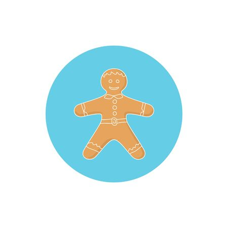 icing: Icon Christmas Gingerbread Man Decorated White Icing and Cream Illustration