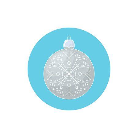 merrychristmas: Colorful Icon Christmas Silver Ball with Snowflake