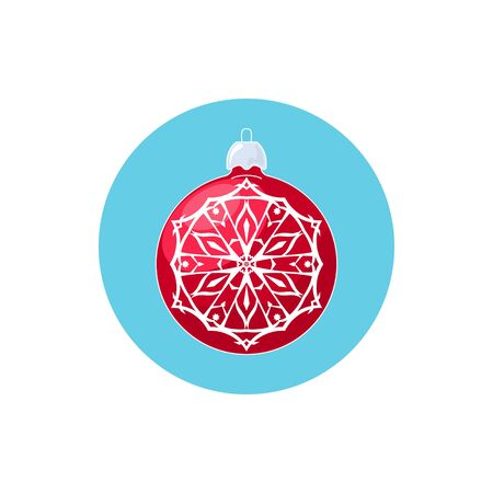 merrychristmas: Colorful Icon Red Ball with Snowflake