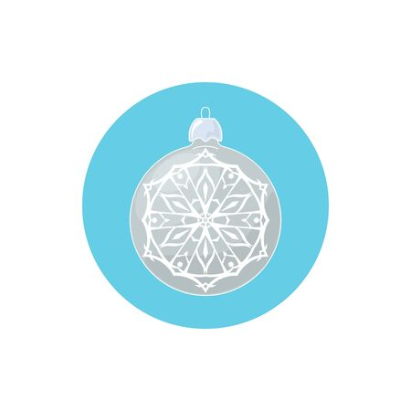 merrychristmas: Colorful Icon Silver Ball with Snowflake