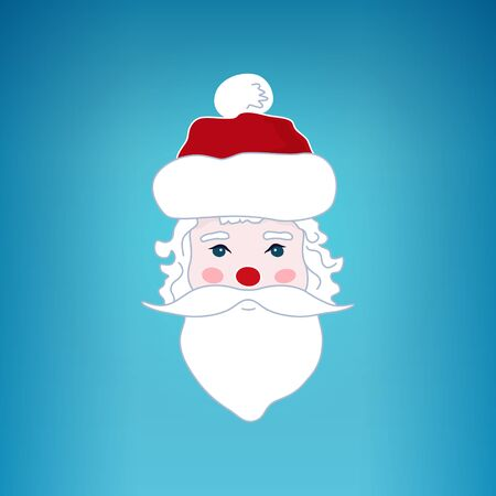 blue santa: Santa Claus Face , Santa Claus  on a Blue Background , Merry Christmas and Happy New Year, Christmas Decoration,  Vector Illustration