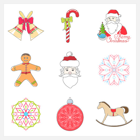 jingle bells: Set of Linear Color Christmas Icons, Holiday Jingle Bells, Santa Claus , Rocking Horse, Cookie Gingerbread,Striped Candy Cane  with Bow, Christmas Ball with Snowflake , Snowflake, Vector Illustration