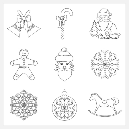 jingle bells: Set Christmas Thin Line Icons, Holiday Jingle Bells, Santa Claus, Rocking Horse, Cookie Gingerbread,Striped Candy Cane  with Bow, Christmas Ball with Snowflake , Snowflake, Vector Illustration Illustration
