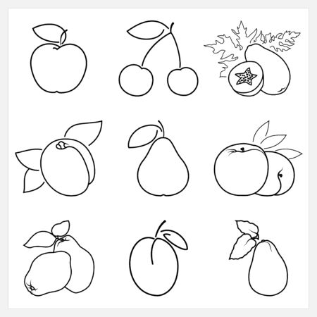 quince: Set of Fruit Linear Icons ,Icon Apple,Cherry,Papaya,Apricot, Pear,Peach, Quince, Plum,Avocado , Isolated on White Background , Vector Illustration