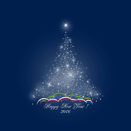 drifts: Bright Stylized Christmas Tree of Lights on Dark Blue Background , Colorful Snow Drifts, Happy New Year, Vector Illustration