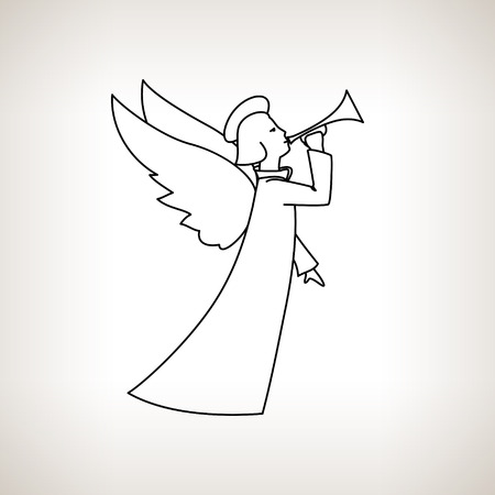 christmas angel on a light background christmas decorations drawing in linear style black - A Christmas Angel